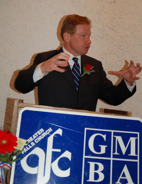 "U.S. REP. TOM DAVIS, speaking to the Greater Falls Church Chamber of Commerce and Merrifield Business Association in F.C. Tuesday, said he'll be voting in favor of the Marshall-Newman Amendment in November. Later, he told the News-Press his reason is because he's ""old fashioned."" (News-Press photo)"