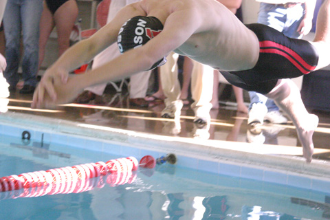 The Mustangs took to the water for their inaugural varsity meet last Saturday. The boys team defeated both Clarke County and Strasburg. (Photo: News-Press)