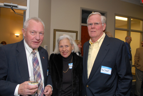 At the opening of the McLean Chain Bridge Bank Director Jenry Mackall, Barbara Smoot and Chain Bridge Bank Advisory Board Member Dan Smoot, who's family owns the two shopping centers in downtown McLean, enjoy the festivities. (Photo: Courtesy of Landis Cullen)