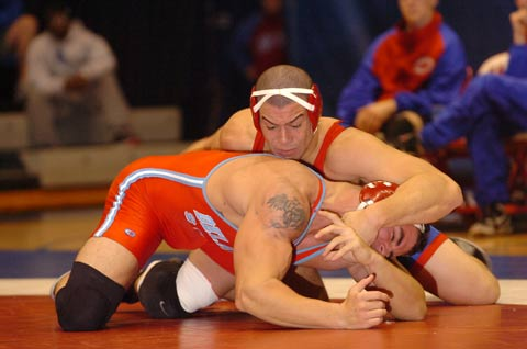 JOSH GLENN (TOP) hopes his individual success can lift the prestige of American University's wrestling program. (Photo: Courtesy American University)