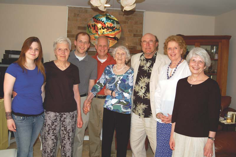LONG-TIME FALLS CHURCH resident and affordable housing advocate Fran Richardson celebrated her 91st birthday at the home of her son, Raj, and wife Lily last Saturday. Here, Richardson (center), with a long career in foreign service and journalism, is shown with some her Falls Church friends at the celebration. (Photo: News-Press)