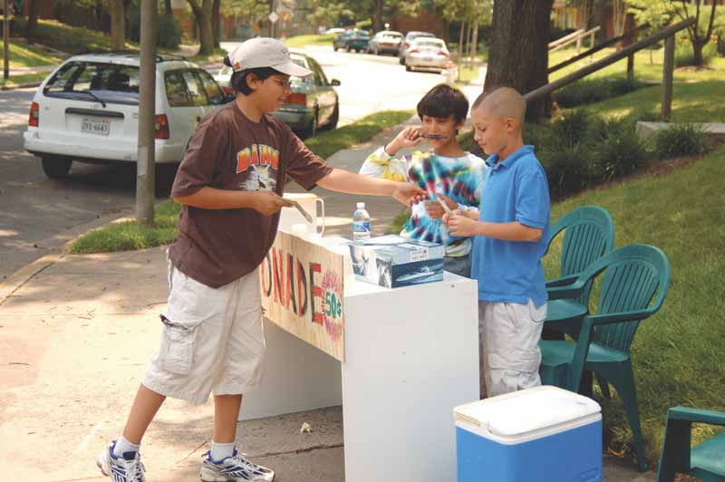 NO SOONER DID SCHOOL let out, than a new entrepreneurial effort showed up on a sidewalk of Falls Church last weekend, the lemonade stand commandeered by Jeffrey Nugara, Abjijit Narain, Arjun Narain and Joshua Mann in the Winter Hill neighborhood. (Photo: News-Press)